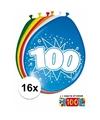 Ballonnen 100 jaar van 30 cm 16 stuks + gratis sticker